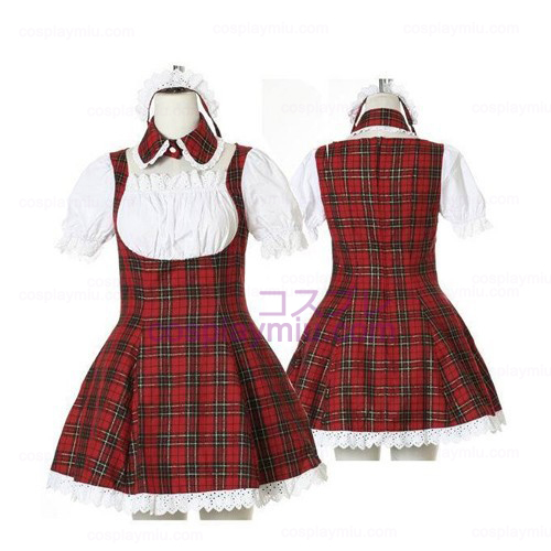 Zoete Rode Plaid Maid Cosplay Lolita Cosplay Kostuums