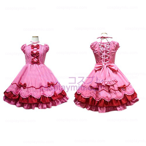 Peach Bow Princess Dress Lolita Cosplay Kostuums