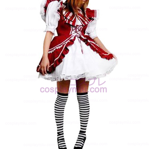 Rode en witte kanten getrimd Lolita Cosplay Dress
