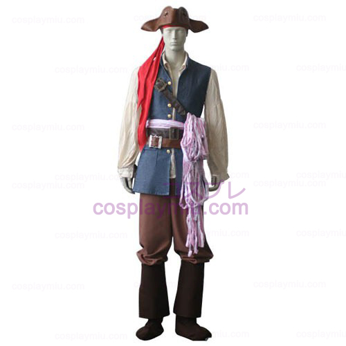 Pirates of the Caribbean Kapitein Jack Sparrow Cosplay Kostuum