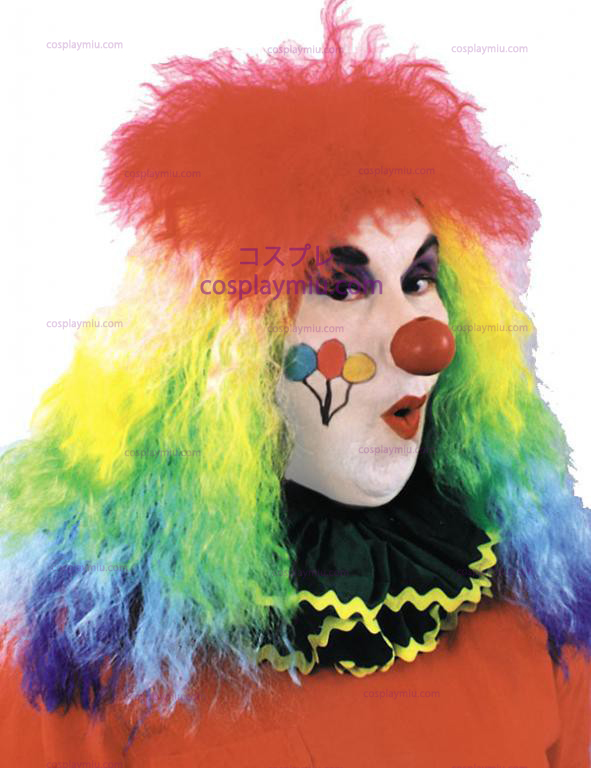 Rainbow Curly Clown pruik