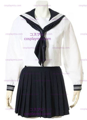 Witte Lange Mouwen Sailor School Uniform Cosplay Kostuum