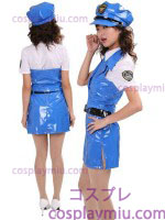 Sexy Email Lady Police Costume Vivid Blue