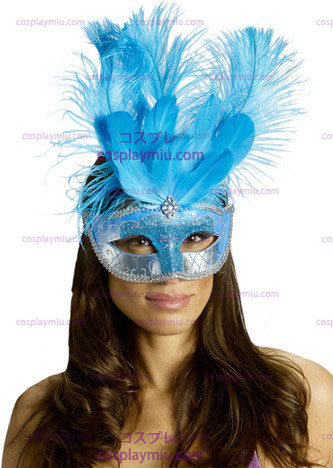 Masker van Carnaval Feather Turquois