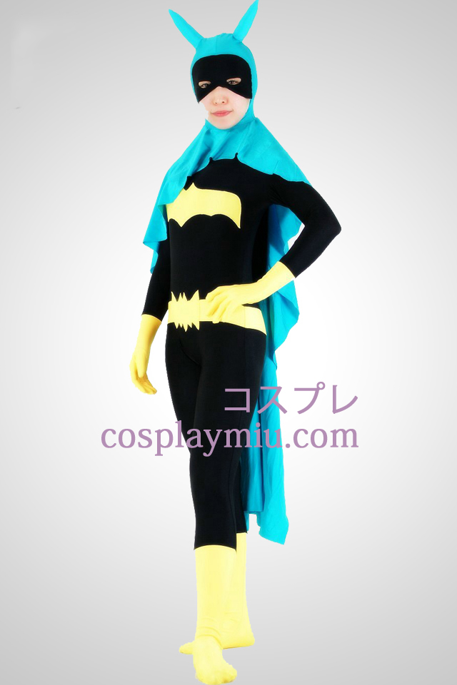 Bat Woman Lycra Superhero Zentai Kostuums Met Cape