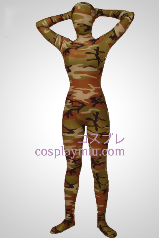 Army Green Camouflage Lycra Full Body Zentai Kostuums
