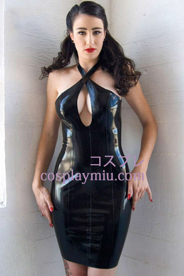 Latex Sexy Halslijn Jurk Met Zwarte Halter 13 €215 vm0N8Onw