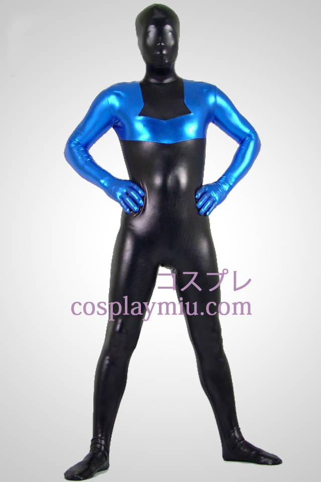 Black And Blue Glanzend metallic Zentai Kostuums