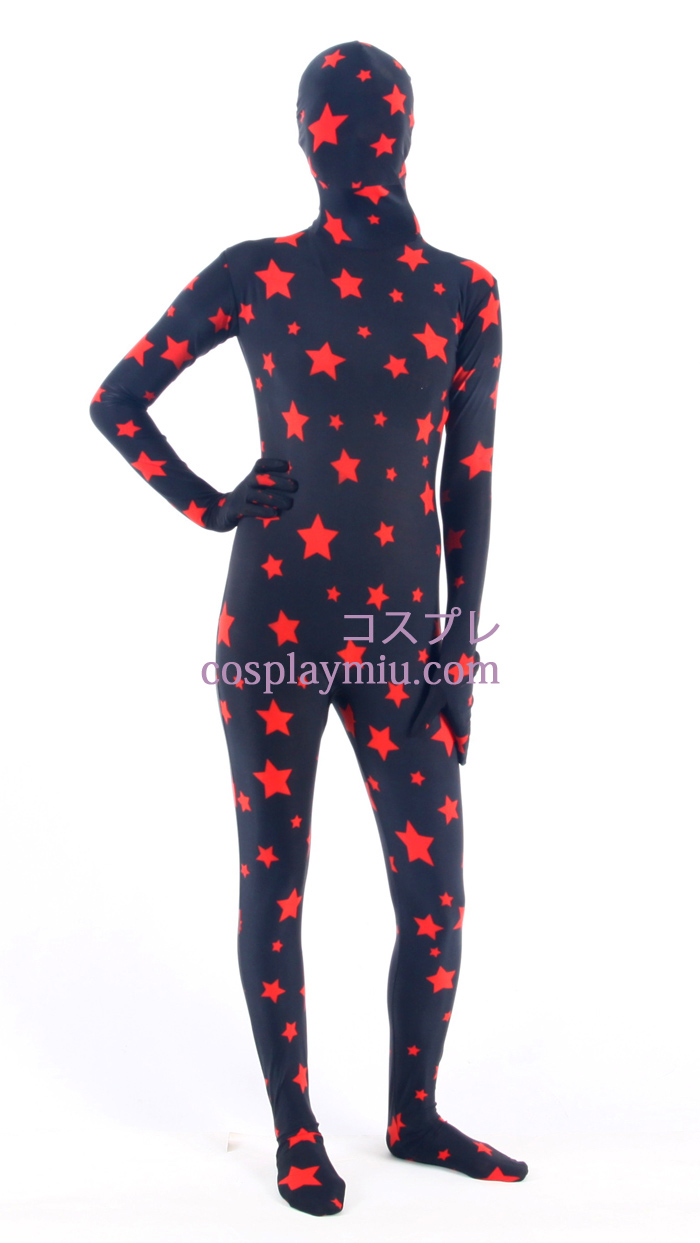 Black Star Patroon Lycra Zentai Kostuums