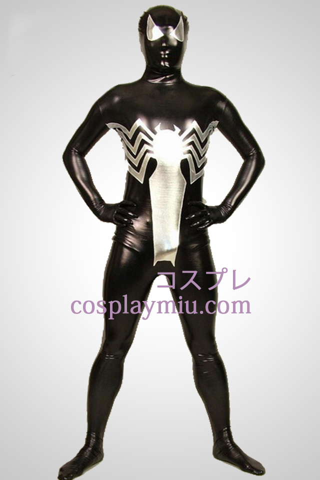 Black Big Spiderman Full Body Glanzend metallic Zentai Kostuums