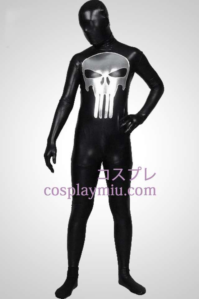 Zwarte glanzende metalen Punisher Patroon Zentai Kostuums
